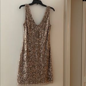 Nude color sequin cocktail dress